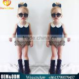 Ins Hot Sell Kids Clothes Baby Girl Cloth Set Top Design Nevy Blue Chiffon Vest + Strap Short Fashion Looking