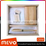 Custom Logo Painting Wooden USB Flash Device 4-64GB Wooden Ball Pen Wooden Card Holder Set
