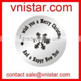 Vnistar I wish you a merry christmas and happy new year engraved 22mm stainless steel message floating charm plate AC517