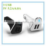 hot sale oem white and black colorful ring blue led 5v 5.2a 6.8a 3 port car charger adapter