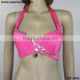 sexy fushia rhinestone belly dance bra top (XF-053)