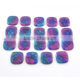 Dichroic glass wholesale gemstones for jewelry making Square glass with rounded edges
