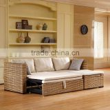 New Design Modern Rattan Wicker Wooden Fabric Seat Living Room Furniture Sleeping Multi-function sofa cum trundle bed