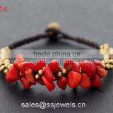 New fashion handmade thai style brass bell bracelets with red coral chip friendship jewelry wholesale factory price
