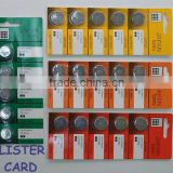 3.6V rechargeable Li ion button cell battery by blister card package /Lir3048,Lir2450,lir2430,lir2032