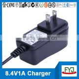 8.4v 1000ma battery charger for 7.4v battery pack with EU US UK SAA plug YJP-084100
