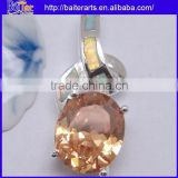 White Gold Plated 925 Sterling Silver Pendant Necklace White Fire Opal And Imperial Topaz Pendant