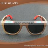 Top quality polarized lenses Brown Bamboo Skateboard Sunglasses wood glasses