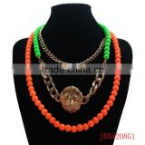 Fashion 3 Strands Matt Colored Beads Necklace