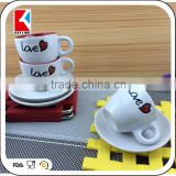 120cc silk screen printed white coffee ceramic cup and saucer,bulk tea cup and saucer sets
