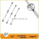 Fancy stainless steel wholesale jewelry surgical steel fashion fake industrial piercing jewelry