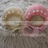 que Design Mohair Newborn Hat Newborn Photo Prop Newborn Bonnet With Satin Bow