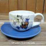 Household/ Office Used Ceramic Cup with Blue Saucer for One