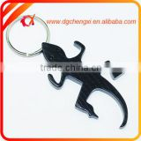 aluminum black gecko shaped bottle opener keychain