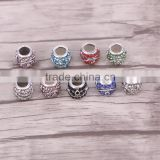 5.0mm Hole Fashion Charms Antique Silver Plated Crystal Alloy Big Hole Charms Beads fit bracelet Jewelry