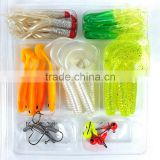 35Pcs Soft Worm Lure Carp Fishing Lure Set + 10 Lead Head Jig Hooks Simulation Suite Soft Fishing Baits Set Tackle Pesca