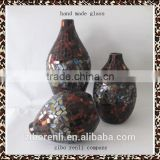 Set of 3 Teal Amber Mosaic Shimmer Pebbles Chinese Decorative Wine Shaped Glass Vases