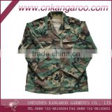 high quality and cheap stock lot/ 65% polyester 35% cotton woodland camouflage uniform/full set/jacket&pant&cap
