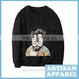 Cool Unique Digital Printing Men's Black Hoodies OEM Fashion Cotton Casual Loose Hoody For Man
