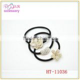 Fashion pearl-studded rose flower shaped hair tie, heart shaped hair accessory