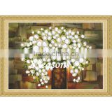 Custom Silver Flower Pattern Embroidery Diamond &Rhinestone Painting DIY Cross Stitch Kit Fabric For Living Room