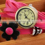 Colorful Retro Vintage Multilayer Faux Leather Strap Women Bracelet Quartz Wrist Watch Ladies relogio feminino clock