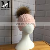 Wholesale Handmade Thick Warm Winter Hat With Natural Raccoon Fur Ball Knitting Baby Beanie