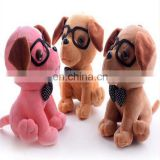 custom design puppy toy stuffed animal plush toy dog with glassess