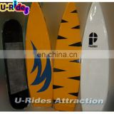 Interchange fiberglass material surfboard for mechanical ride