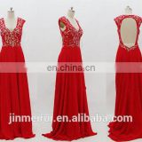 Red Evening Gown Sexy V-neck Cap Sleeve Chiffon Floor Length Beaded Open Back Evening Dresses Women