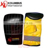 Genuine Leather Bag Mitt In Black And Yellow, Punch Mitt In Leather Available In All Sizes, Custom Bag Mitts and Mittens