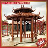 outdoor park garden wood look style aluminum metal gazebo pavilion pagoda gloriette inn shelter