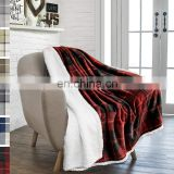 "50*60"" Factory Wholesale Bed Sheet Festival Promotion Blankets for Winter Soft Baby Swaddle Blanket Sherpa Plaid TV Blanket"