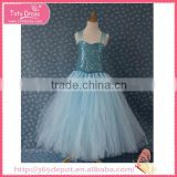 Children blue elsa tee bling long bubble dress for party for 1-9 years