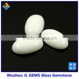 Synthetic Beautiful Milky White Cabochon Oval Shape Glass Gems Online Hot Sale