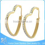ZS17125 Surgical steel big heart shaped hoop earring , gold plated crystal huggie earring