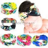 Hot-sales Baby floral Headband Infant Headband Toddler turban Headband cotton kids cross headband wh-1743