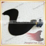 Double drawn natural color black remy Indian human keratin nail tip hair extensions