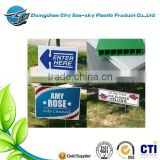 Custom real estate corrugated plastic signs/UV printing pp corrugated board/hotel sign board