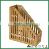 Trapezoid bamboo book rack for newspaper magazine