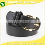 2015 Women's casual belt black with braided rings in yiwu