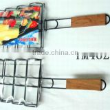 BBQ grill net- fish Grilling Basket Folding for Roast BBQ Barbecue with Wood handle