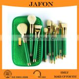 2015 best hot sale 15pcs professional cosmetic makeup brush sets with green snake pattern bag