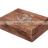 Store Indya Antique Like Hand Carved Rosewood Jewelry Box Organizer with Embossed Metal OM Symbol, 7 x 5 x 3 inches