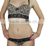 Animal Printing Bra and Thong Set with Lace Trimsc Lingerie Sets