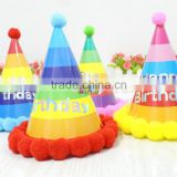 rainbow color Paper Cone Hat for baby\kids birthday party supplies
