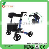 Deluxe Foldable Aluminum Rollator Walker with shopping bag and seat