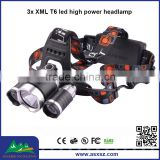 RJ-3000 3x T6 led 1800Lm 4 Mode rechargeable high power headlamp