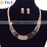 Wedding Brial Vintage Charm Necklace Wide Accessories Fashion Gold Plated 4pcs Jewelry Sets For Women