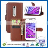 C&T Genuine magnetic flip wallet handmade leather pu case for motorola moto droid turbo 2